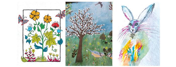 Kunstwerke zum Thema Blumen, Bäume und Tiere © privat